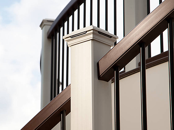 trex transcend railing vintage lantern classic white balusters black stair view